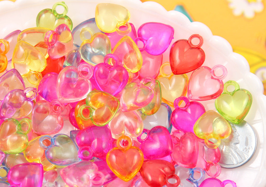 17mm Little Transparent Heart Acrylic or Plastic Dangly Hearts Charms or Pendants - 100 pc set