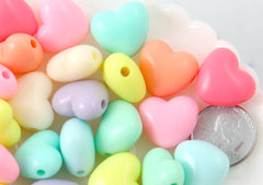 Pastel Heart Beads - 17mm Large Chunky 3D Convex Heart Beautiful Bright Pastel Puffy Hearts Acrylic or Resin Beads - 40 pcs set