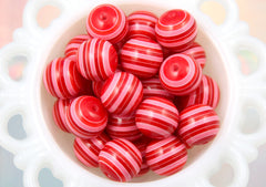 20mm Red and Pink Chunky Stripe Gumball Bubblegum Acrylic or Resin Beads - 8 pc set