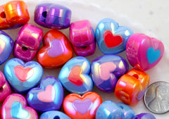 Heart Beads - 22mm Amazing AB Opaque Double Heart Acrylic or Resin Beads - 12 pcs set