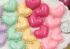 24mm Cute Heart Shaped Mini Macaron Tops Pastel Flatback Resin Cabochons - for making fake food crafts - 10 pc set