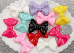35mm Ribbon Bow Flatback Resin Cabochons - Mixed Colors - 8 pcs set