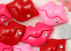 43mm Large Kiss Shape Lips Resin Flatback Cabochon - Pink, Red, Fuchsia - 3 pc set