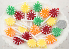 19mm Colorful Sugar Coated Glitter Swirl Little Lollipop Resin or Plastic Charms or Pendants - 6 pc set