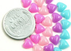 6mm Pastel Heart Mini Resin Cabochons - 100 pc set