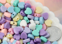 8mm Tiny Plastic Pastel Heart Resin or Acrylic Beads - 200 pc set