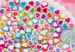 Pastel Heart Beads - 8mm Amazing Tiny AB Pastel Double Heart Resin or Acrylic Beads - 56 pc set