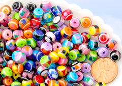 8mm Tiny Confetti Colorful Candy Stripe Acrylic or Resin Beads - mixed color, small size beads - 100 pcs set