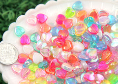 8mm Tiny AB Iridescent Pastel Hearts Resin or Acrylic Beads, mixed color, small size beads - 200 pc set