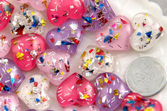 18mm Party Fun Confetti Heart Resin Cabochons - 8 pc set