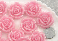 28mm Beautiful Light Pink Glitter Rose Resin Cabochons, Large Size - 5 pc set