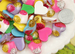 16mm Paradise Glitter Heart Resin Cabochons - 12 pc set