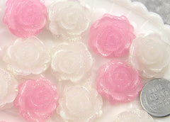 22mm Pink and White Shimmer Roses Resin Cabochons - 6 pc set