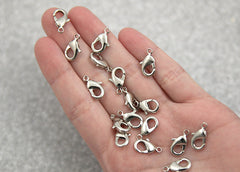 15mm Silver Plated Lobster Clasps - 10 pc set