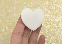 45mm White Solid Color Heart Cabochons – 4 pc set