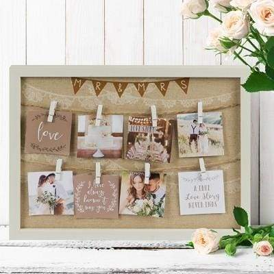 Love Story Peg Collage Frame - Mr & Mrs - wedding gifts