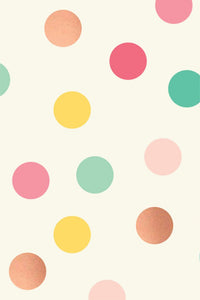PGW305-HOORAY WRAPPING PAPER MULTI-COLOR DOT WITH ROSE GOLD FOIL