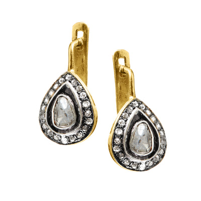 "HARPER HALLAM || ""He Owes Me This"" Diamond Teardrop Earrings front view. Yes, he does owe you these spectacular diamond teardrop earrings! You are the best thing that happened to him after all . . . This selection by Harper Hallam is for a pair of teardrop polki diamond drop earrings with diamond pave surround. You can wear them everyday or with your LBD -- totally classic (just like you!). Pair Polki Diamonds."