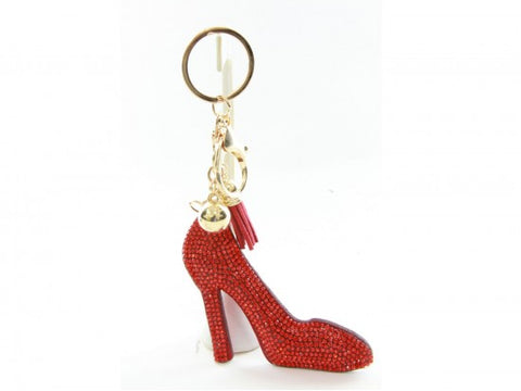 RED CRYSTAL HIGH HEEL SHOE TASSEL PUFF KEY CHAIN