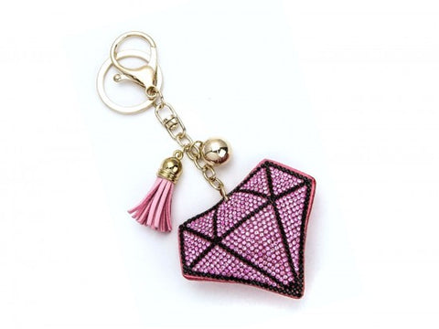 PINK CRYSTAL DIAMOND TASSEL PUFF KEY CHAIN