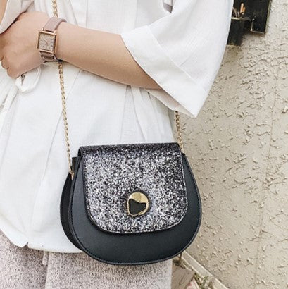 BLACK GLITTER BUCKET CROSS-BODY