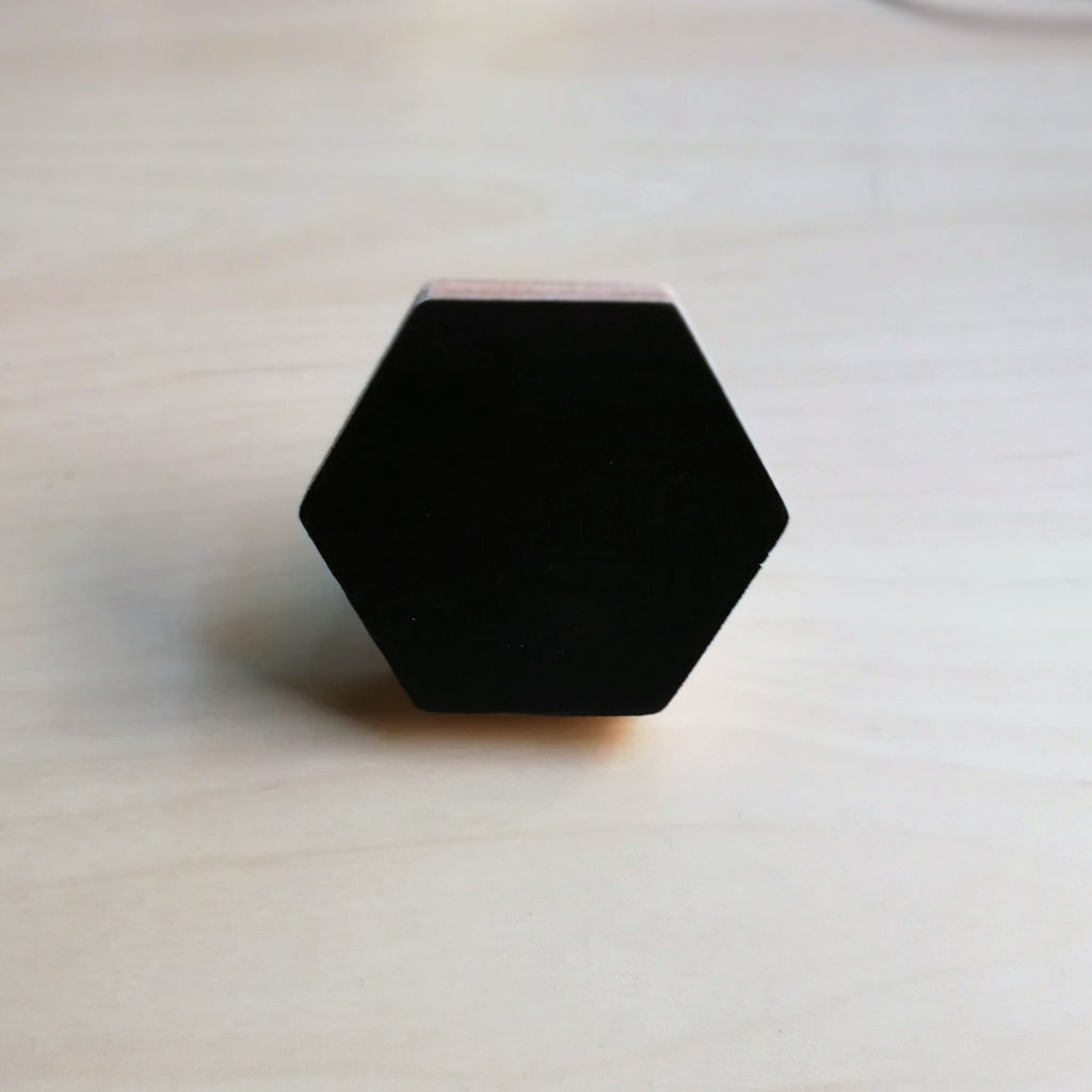 Knobbly Hexagon Wooden Wall Hook  Black