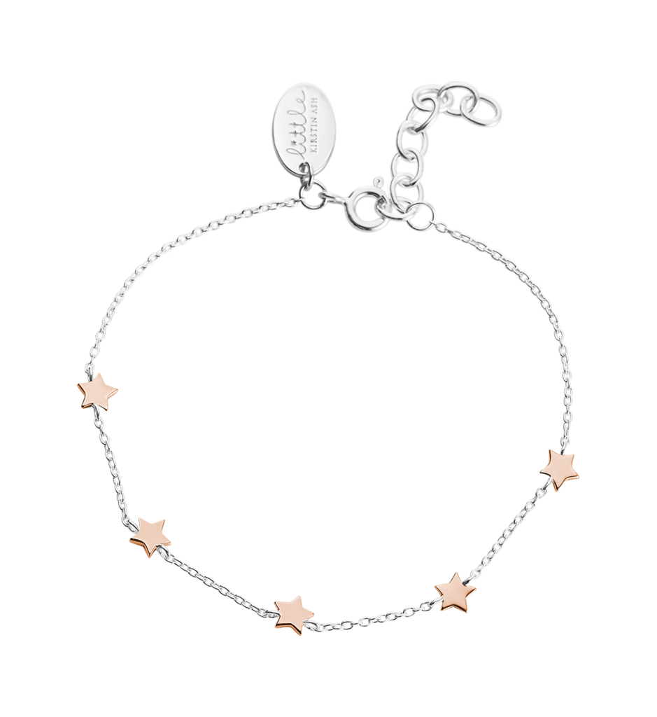 Little Kirstin Ash Kids Jewellery  Little Star Bracelet in Silver and Rose Gold