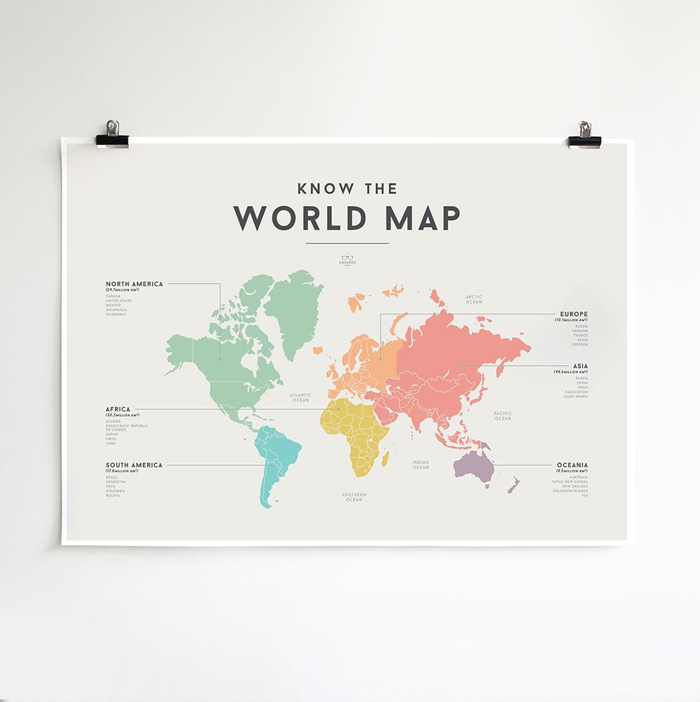 We Are Squared - World Map Poster For Kids