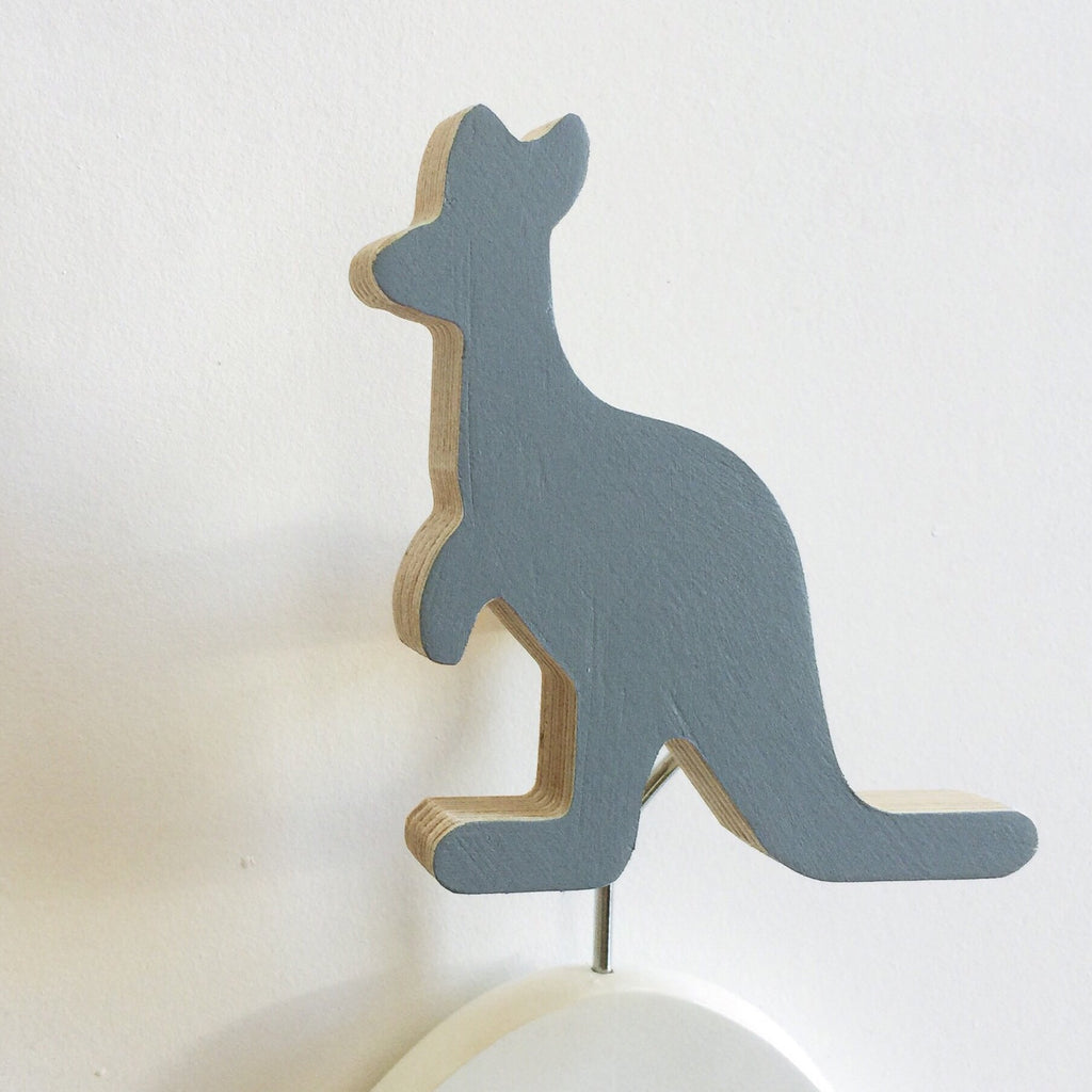 Knobbly Kangaroo Wooden Wall Hook  Grey