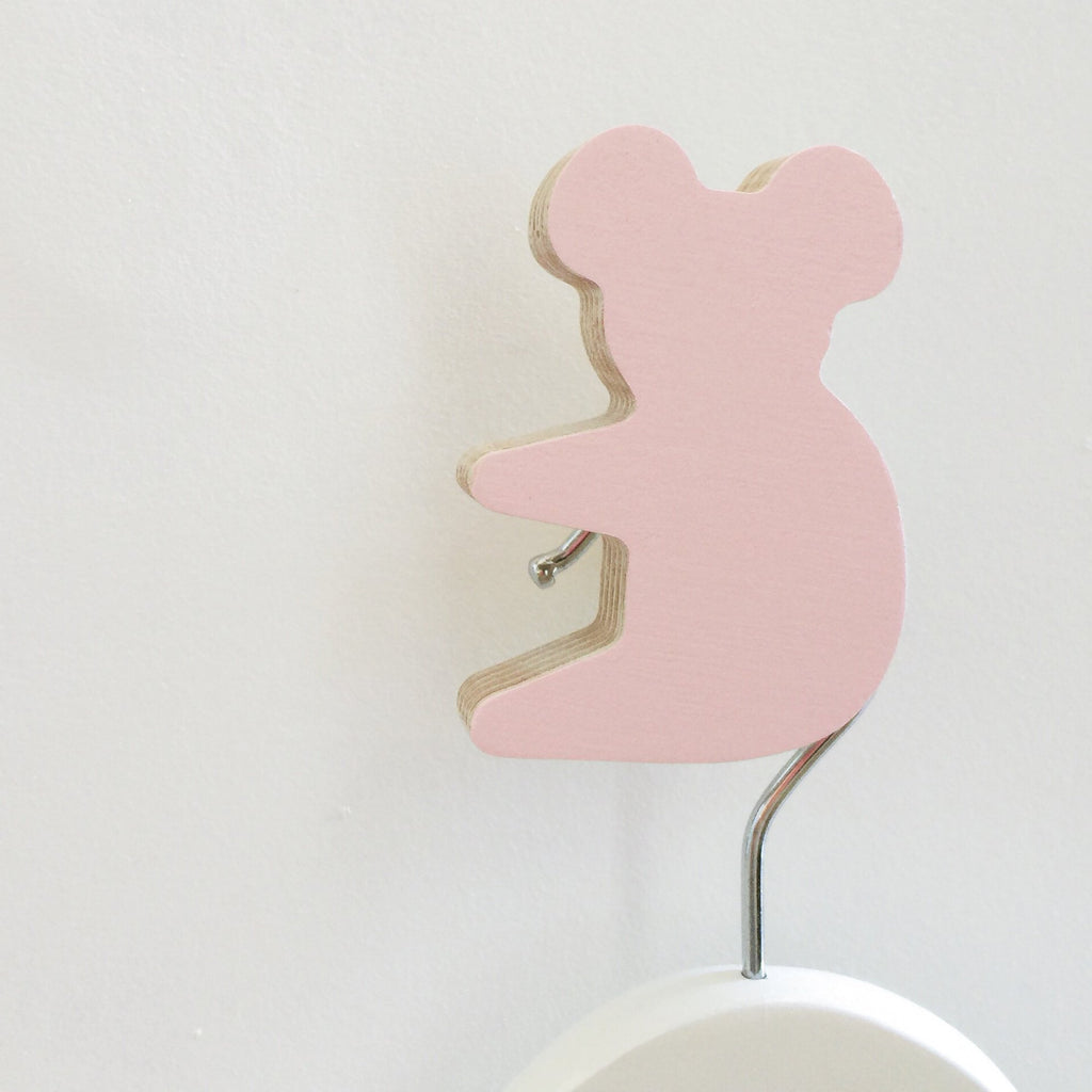 Knobbly Koala Wooden Wall Hook  Ballerina Pink