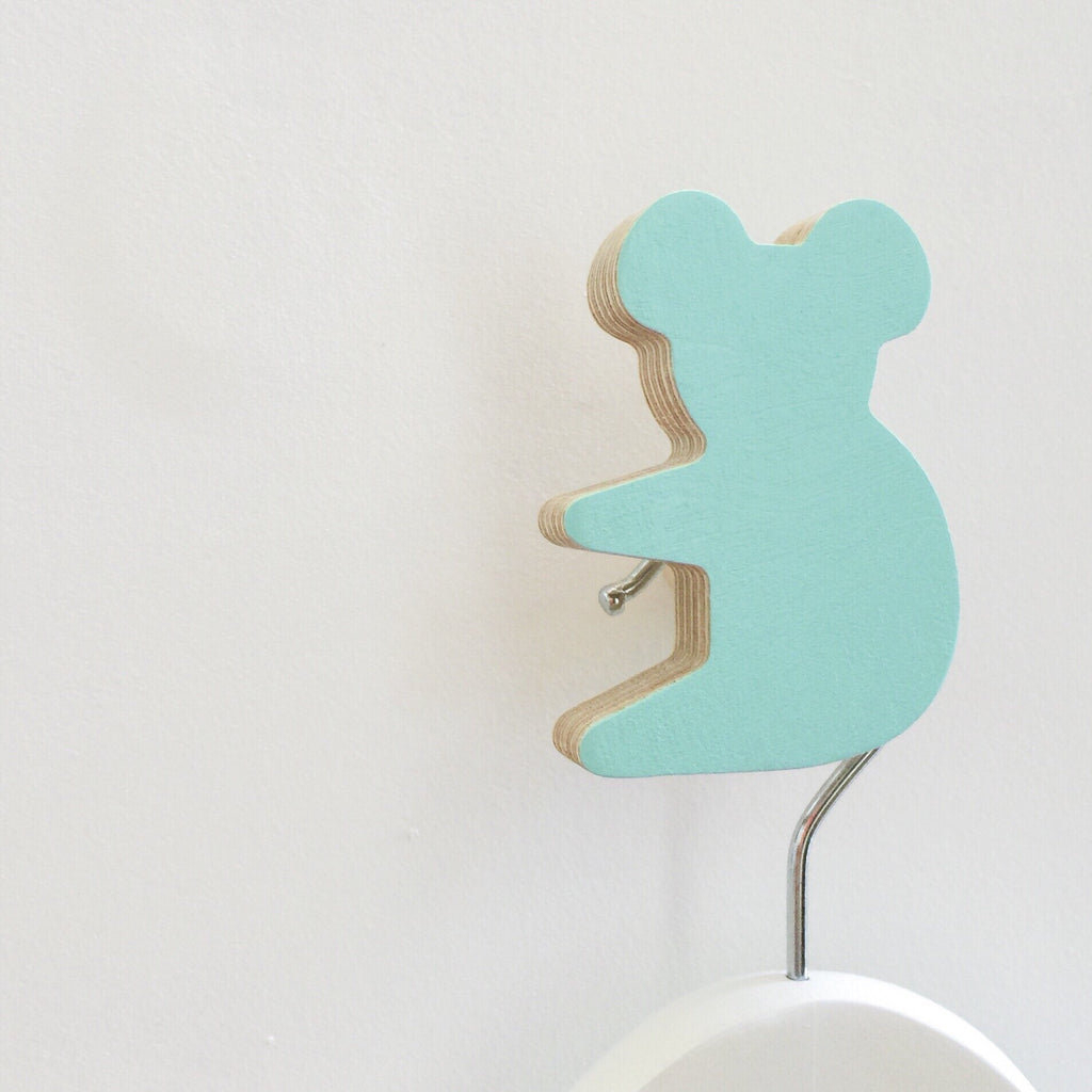 Knobbly Koala Wooden Wall Hook  Morning Sky Blue