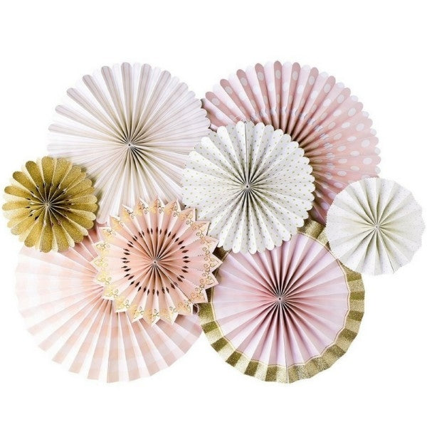 Kids Party Pink And Gold Party Fans Set