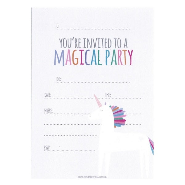 Sprout And Sparrow Unicorn Party Invitations X 10