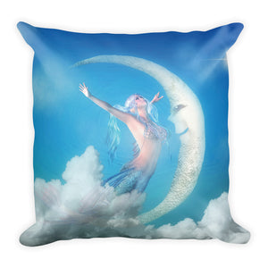 Mermaid Moon Square Throw Pillow