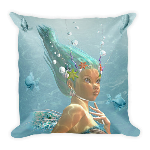 Mermaid Square Throw Pillow