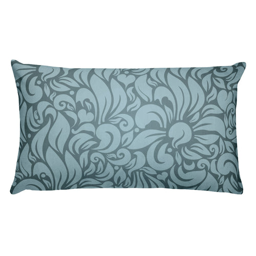 Teal Floral Rectangular Throw Pillow