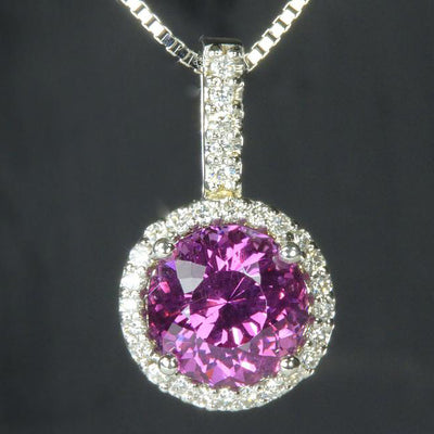 14K White Gold Umbalite Garnet and Diamond Pendant