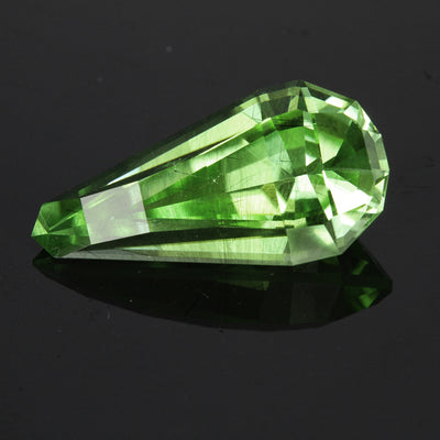 Blue/Green Opposed Bar Pear Shape Peridot Gemstone 13.71 Carats