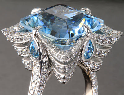 18K Palladium White Gold Worlds Finest Aquamarine Ring Designed by Christopher Michael