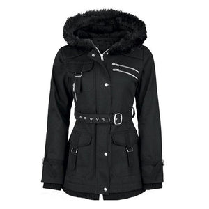 Women's Black Winter Hooded Zipper Belt Mountaineering Velvet Overcoat Casual