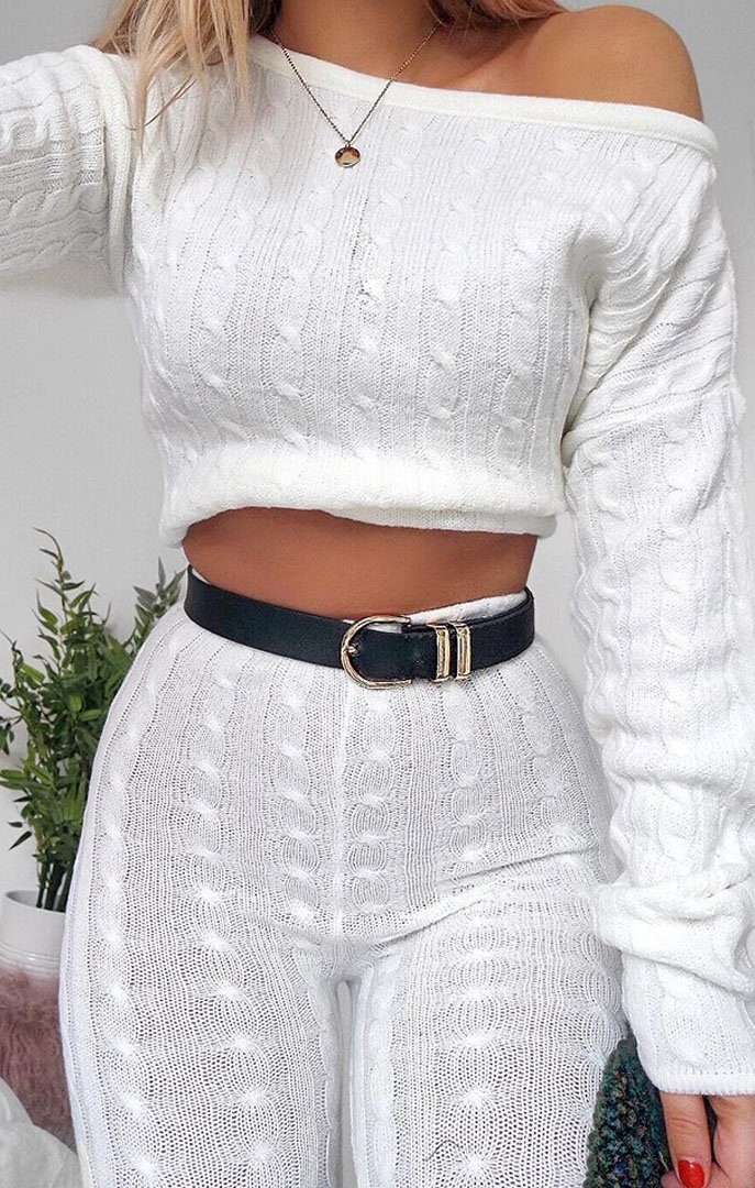 Cream Cable Knit Loungewear Set - Alison
