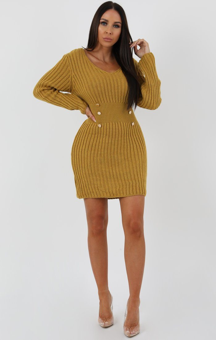 Mustard Ribbed Knit Bodycon Dress With Button Detail - Lauryn