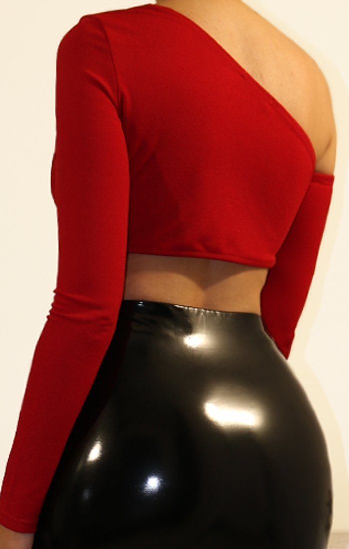 Red Asymmetrical One Shoulder Crop Top