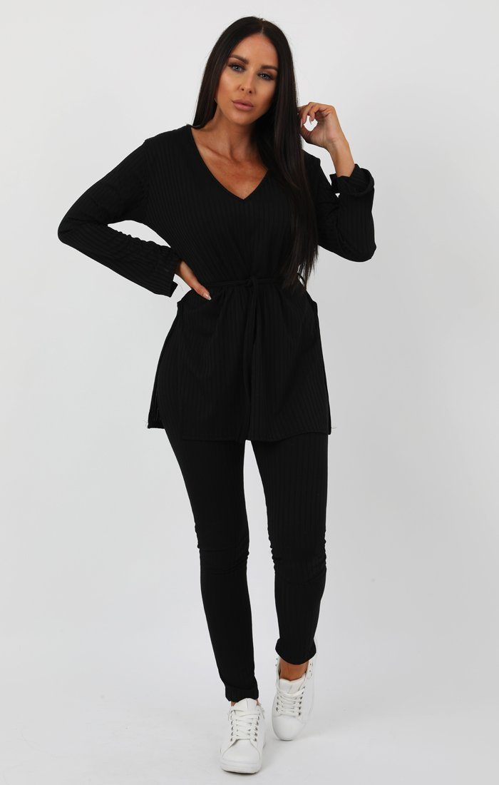 Black Ribbed belted Loungewear Set -Asia