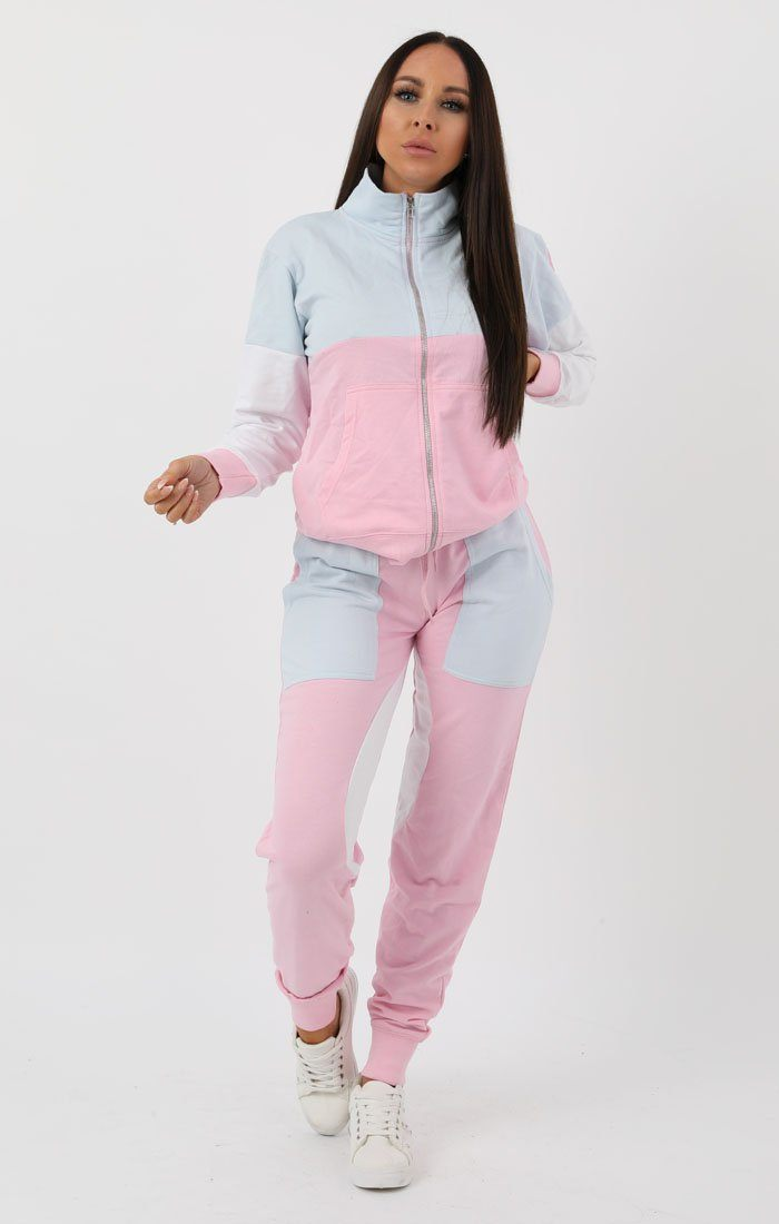 Blue Pink White Racer Shell Block Loungewear Set - Rosie