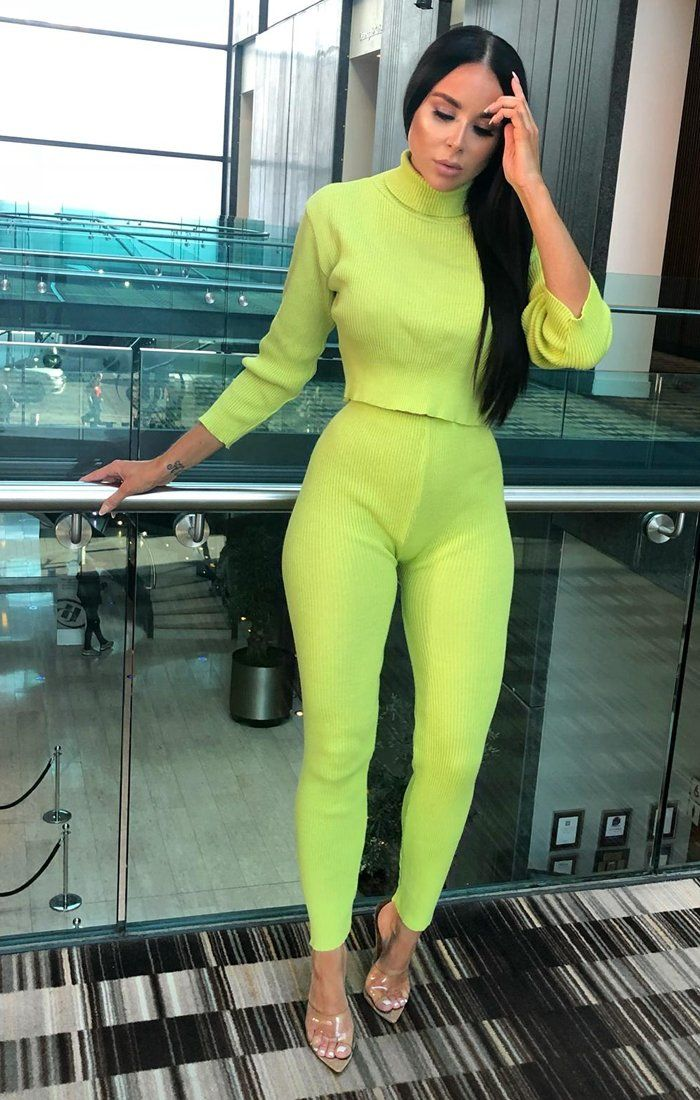 Lime High Neck Cropped Loungewear Set - Ella