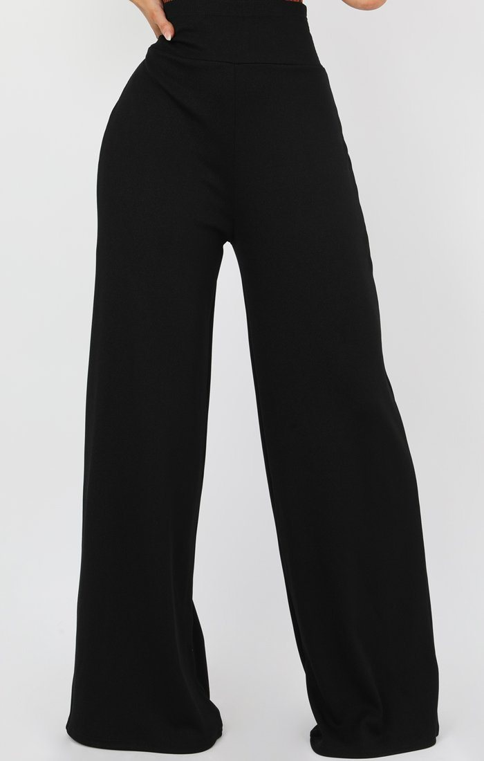 Black High Waisted Wide Leg Trousers - Bethan