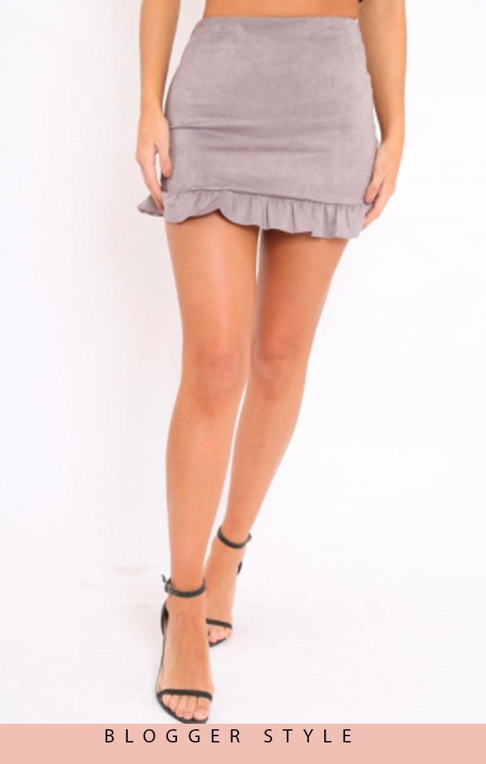 Mink Suede Frill Hem Mini High Waist Skirt