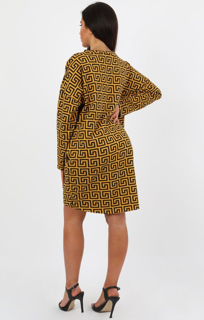 Mustard Geometric Print Oversized Jumper Dress - Lucy