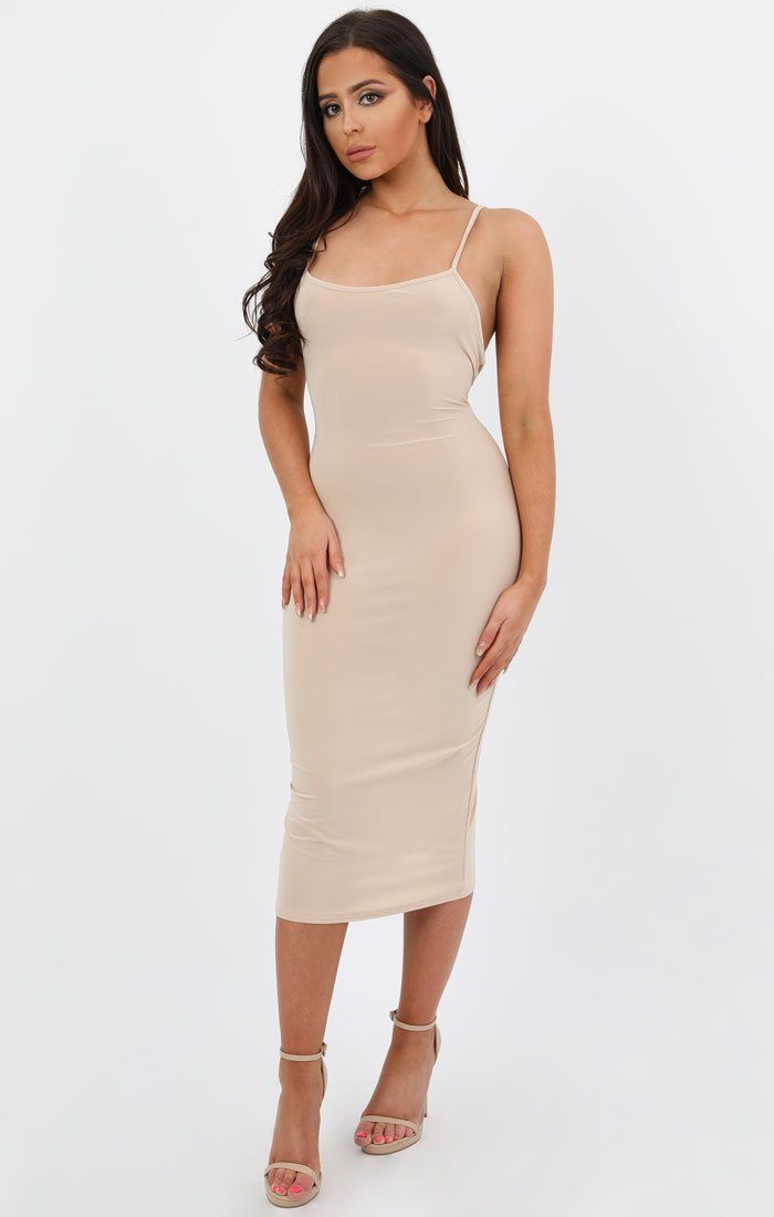 Nude Criss Cross Back Slinky Midi Dress - Laura